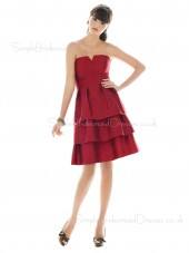 Burgundy Strapless Zipper Sleeveless Knee-length Bridesmaid Dress