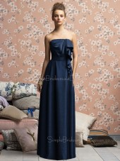 A-line Strapless Zipper Sleeveless Dark-Navy Bridesmaid Dress