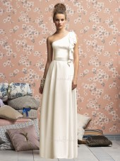 Charmeuse Natural Floor-length Zipper White One-Shoulder Bridesmaid Dress