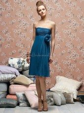 Sleeveless Empire Zipper Blue Sheath Bridesmaid Dress