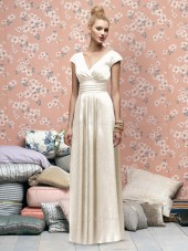 Draped/Ruffles Empire A-line V-neck Zipper Bridesmaid Dress