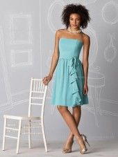 A-line Strapless Light-Sky-Blue Sleeveless Chiffon Bridesmaid Dress