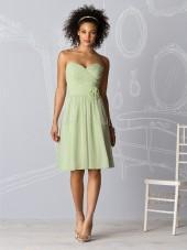 Draped/Flowers/Ruffles Knee-length Natural Chiffon A-line Bridesmaid Dress
