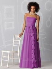 Natural Strapless Lilac Sleeveless Zipper Bridesmaid Dress