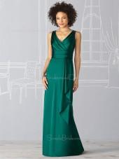 Elastic-Satin Empire V-neck Ruffles Zipper Bridesmaid Dress