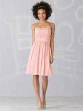 Strapless A-line Sleeveless Draped/Ruffles Zipper Bridesmaid Dress