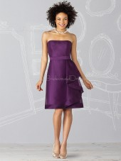 Grape Satin Knee-length Natural Zipper Bridesmaid Dress
