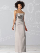 Floor-length Ruffles Sleeveless Silver Natural Bridesmaid Dress