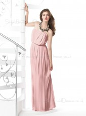 Pink A-line Floor-length Sleeveless Draped/Ruffles Bridesmaid Dress