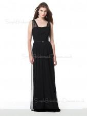 Floor-length Straps Black Zipper Sheath Bridesmaid Dress