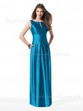 Zipper Blue A-line Elastic-Satin Natural Bridesmaid Dress