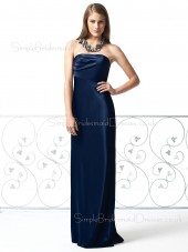 Backless Sleeveless Strapless Elastic-Satin Draped/Ruffles Bridesmaid Dress