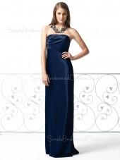 Backless Sleeveless Strapless Elastic-Satin Draped/Ruffles Bridesmaid Dress