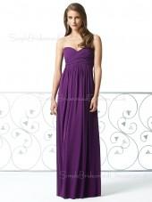 Chiffon Floor-length Draped/Ruffles A-line Grape Bridesmaid Dress