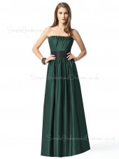 Dark-Green Strapless Elastic-Satin Backless Sleeveless Bridesmaid Dress