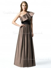 A-line Draped/Ruffles Sleeveless Brown Natural Bridesmaid Dress