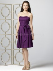Satin-Chiffon Bow/Draped Knee-length Sleeveless Natural Bridesmaid Dress
