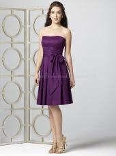 Satin-Chiffon Bow/Draped Knee-length Sleeveless Natural Bridesmaid Dress