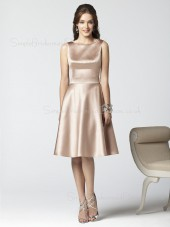 Sleeveless Knee-length A-line Champagne Draped/Ruffles Bridesmaid Dress