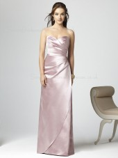 Floor-length Sleeveless Empire Pink Sheath Bridesmaid Dress