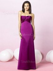 Satin Ruffles Floor-length Sleeveless Strapless Bridesmaid Dress