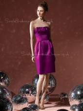 Sheath Grape Strapless Ruffles Satin Bridesmaid Dress