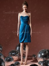 Sheath Ruffles Sweetheart Knee-length Blue Bridesmaid Dress