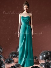 Elastic-Satin Natural A-line Floor-length Hunter Bridesmaid Dress