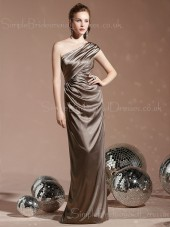 Ruffles Elastic-Satin Natural Sheath Floor-length Bridesmaid Dress