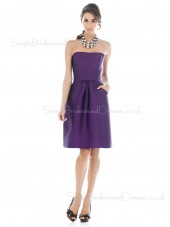 Sleeveless Strapless Draped Grape A-line Bridesmaid Dress