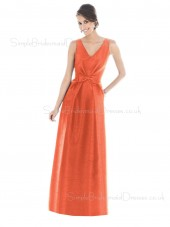 A-line Floor-length Zipper Taffeta Natural Bridesmaid Dress