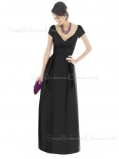 Short-Sleeve Satin Black Ruffles V-neck Bridesmaid Dress