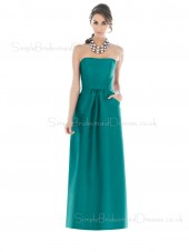 Floor-length Blue Sleeveless Satin Backless Bridesmaid Dress
