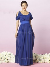 Empire Off-the-shoulder Zipper Sleeveless Floor-length Bridesmaid Dress