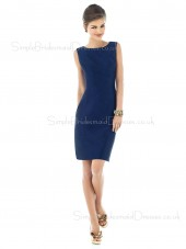 Bow Bateau Dark-Navy Natural Sleeveless Bridesmaid Dress