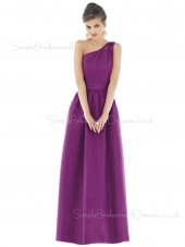 Satin Ruffles Floor-length A-line Zipper Bridesmaid Dress