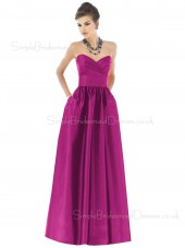 Floor-length Fuchsia Sleeveless Satin Backless Bridesmaid Dress
