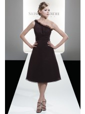 A-line Zipper Chocolate Ruffles One-Shoulder Bridesmaid Dress