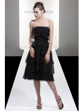 Sleeveless Black Tea-length Strapless Backless Bridesmaid Dress