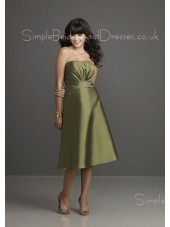 Ruffles Sleeveless Green Tea-length Backless Bridesmaid Dress