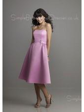 Lilac Natural Backless Tea-length Strapless Bridesmaid Dress
