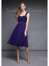 Zipper Chiffon A-line Royal-Blue One-Shoulder Bridesmaid Dress