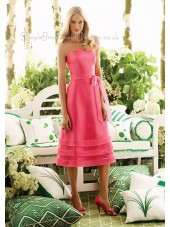 Tea-length Pink Taffeta Zipper Natural Bridesmaid Dress