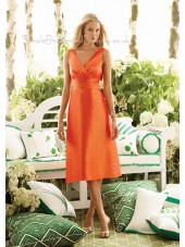 Orange A-line Taffeta V-neck Ruffles Bridesmaid Dress