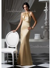 High-Neck Champagne Floor-length Empire Ruffles Bridesmaid Dress