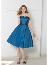 Zipper Knee-length Sleeveless Taffeta Empire Bridesmaid Dress