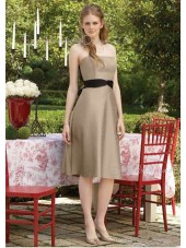 Champagne Empire Draped Satin Zipper Bridesmaid Dress