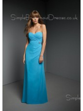 Empire Sleeveless Ruffles Blue A-line Bridesmaid Dress