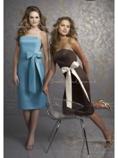 Natural Zipper Tea-length Bow/Sash Sheath Bridesmaid Dress