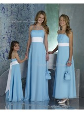 A-line Draped/Ruffles/Sash Sleeveless Light-Sky-Blue Chiffon Bridesmaid Dress